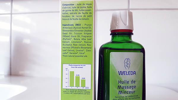 L'huile de massage minceur de weleda a une composition 100% naturelle, avec des huiles végétales, des huiles essentielles et des extraits de plantes pour lutter contre la cellulite